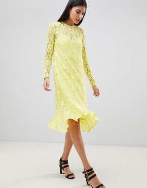 photo Lace Midi Swing Dress with Ruffle Hem by ASOS DESIGN Tall, color Yellow - Image 4