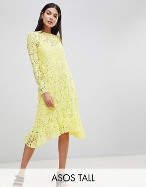 photo Lace Midi Swing Dress with Ruffle Hem by ASOS DESIGN Tall, color Yellow - Image 1