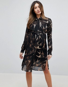 photo Bird Print Woven Shirt Dress by Mama.licious, color Multi - Image 1