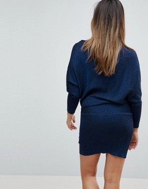 photo Drape Glitter Jumper Dress by Mama.licious, color Navy - Image 2