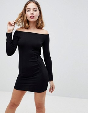 photo Mini Bodycon Dress with Bow Back by ASOS PETITE, color Black - Image 2