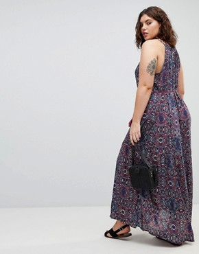 photo Marlin High Neck Maxi Dress with Tassel Tie by Brave Soul Plus, color Navy - Image 2