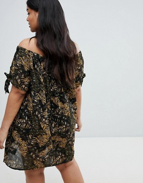 photo Off Shoulder Jungle Dress by Brave Soul Plus, color Brown Jungle - Image 2