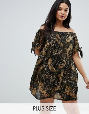 photo Off Shoulder Jungle Dress by Brave Soul Plus, color Brown Jungle - Image 1