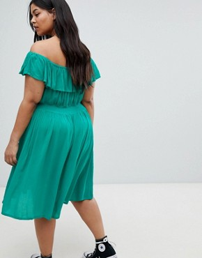 photo Petal Midi Dress with Frill Bardot by Brave Soul Plus, color Emerald - Image 2