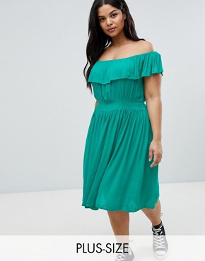 photo Petal Midi Dress with Frill Bardot by Brave Soul Plus, color Emerald - Image 1