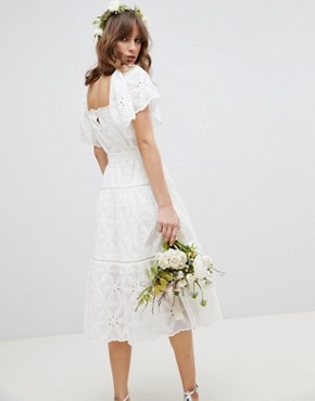 photo Floral Embroidered Smock Midi Dress by Stevie May Exclusive, color White - Image 2