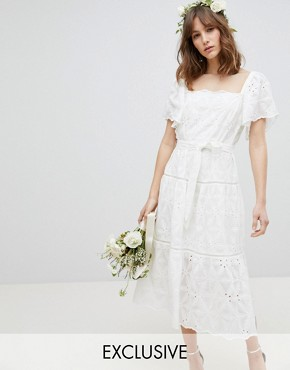 photo Floral Embroidered Smock Midi Dress by Stevie May Exclusive, color White - Image 1