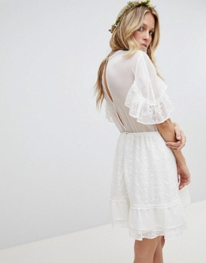 photo Hail Spot Tulle with Embroidery Mini Dress by Stevie May Exclusive, color Off White - Image 2