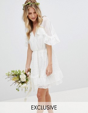 photo Hail Spot Tulle with Embroidery Mini Dress by Stevie May Exclusive, color Off White - Image 1