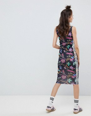 photo Floral Print Dress by adidas Originals, color Black - Image 2