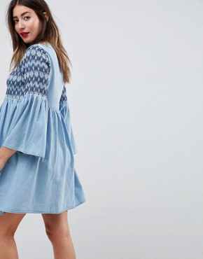 photo Maternity Smock Dress with Embroidery in Midwash Blue by ASOS DESIGN, color Blue - Image 2