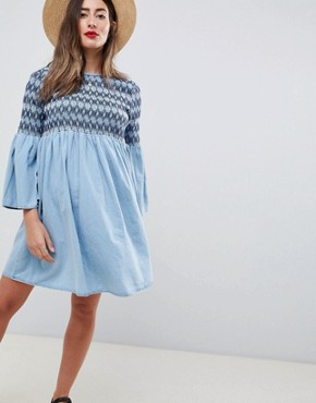photo Maternity Smock Dress with Embroidery in Midwash Blue by ASOS DESIGN, color Blue - Image 1