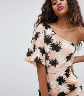photo Allover Embroidered Floral Lace One Shoulder Shift Dress by Dolly & Delicious Tall, color Multi - Image 3