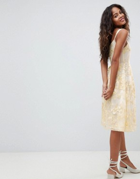 photo Allover Embroidered Floral Lace Midi Prom Dress by Dolly & Delicious Tall, color Multi - Image 2