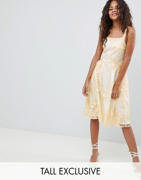 photo Allover Embroidered Floral Lace Midi Prom Dress by Dolly & Delicious Tall, color Multi - Image 1