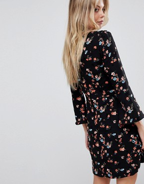 photo Floral Printed Fluted Sleeve Midi Dress by Oasis, color Multi Black - Image 2