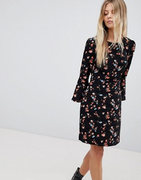 photo Floral Printed Fluted Sleeve Midi Dress by Oasis, color Multi Black - Image 1