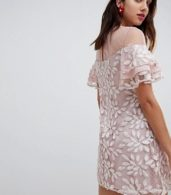 photo All Over Embroidered Shift Dress with Fluted Hem Detail by Dolly & Delicious, color Multi - Image 2