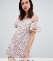 photo All Over Embroidered Shift Dress with Fluted Hem Detail by Dolly & Delicious, color Multi - Image 1