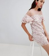 photo All Over Embroidered Shift Dress with Fluted Hem Detail by Dolly & Delicious, color Multi - Image 4