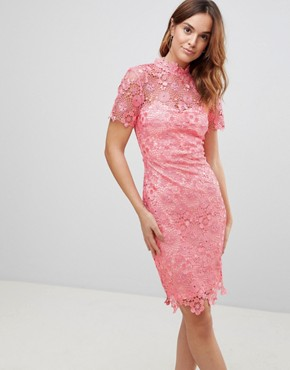 photo Daisy Crochet Dress by Paper Dolls, color Coral - Image 1
