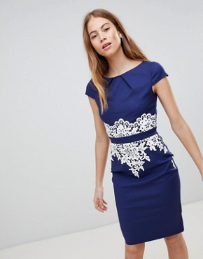 photo Navy Lace Detail Dress by Paper Dolls, color Navy Cream - Image 1