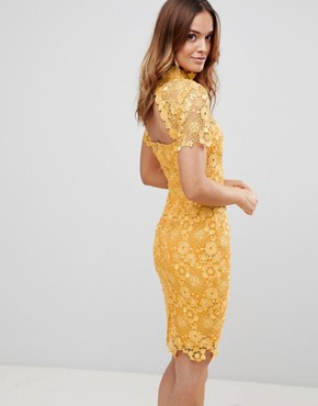 photo Mustard Daisy Crochet Dress by Paper Dolls, color Mustard Gold - Image 2
