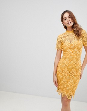 photo Mustard Daisy Crochet Dress by Paper Dolls, color Mustard Gold - Image 1