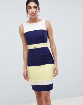 photo Navy Panel Dress by Paper Dolls, color Navy Lemon Cream - Image 1