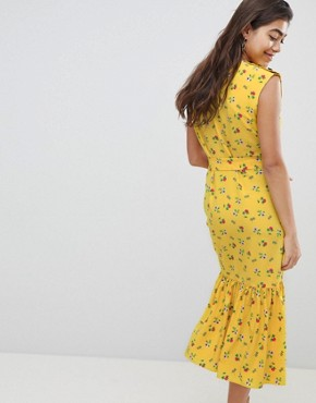 photo Sleeveless Floral Maxi Dress with Ruffle Hem and Belt by ASOS DESIGN, color Multi - Image 2