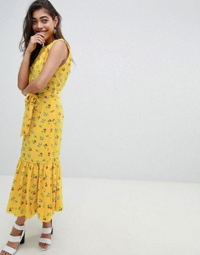 photo Sleeveless Floral Maxi Dress with Ruffle Hem and Belt by ASOS DESIGN, color Multi - Image 1