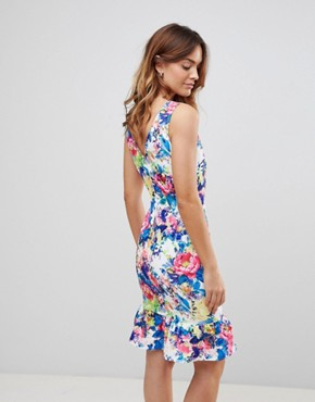 photo Print Peplum Dress by Paper Dolls, color Multi - Image 2