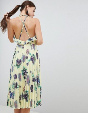 photo Floral Pleated Midi Dress with Ruffle Open Back by ASOS DESIGN, color Multi - Image 2
