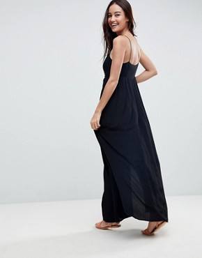 photo Pleated Smock Maxi Cami Dress by ASOS, color Black - Image 2
