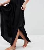 photo Pleated Smock Maxi Cami Dress by ASOS, color Black - Image 3