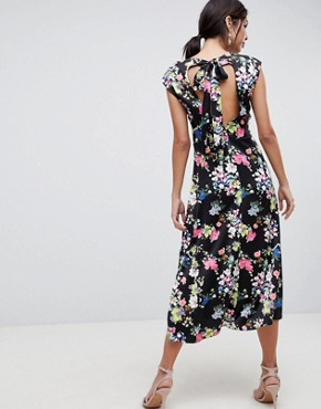 photo Drape Midi Dress in Dark Floral by ASOS DESIGN, color Multi - Image 2