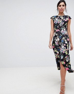 photo Drape Midi Dress in Dark Floral by ASOS DESIGN, color Multi - Image 1