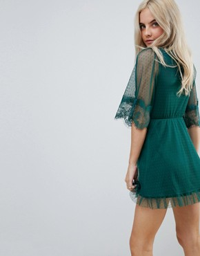 photo Dobby Knot Front Lace Trim Mini Skater Dress by ASOS PETITE, color Forest Green - Image 2