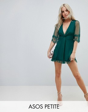 photo Dobby Knot Front Lace Trim Mini Skater Dress by ASOS PETITE, color Forest Green - Image 1