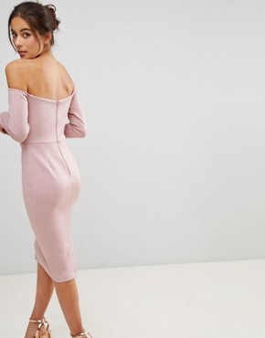 photo Long Sleeve Bandeau Origami Front Midi Dress by ASOS, color Mink - Image 2