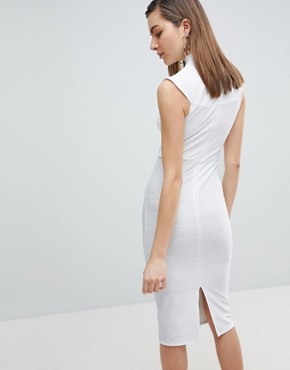 photo High Neck Bandage Bodycon Midi Dress by ASOS, color Ivory - Image 2
