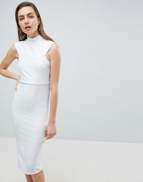 photo High Neck Bandage Bodycon Midi Dress by ASOS, color Ivory - Image 1