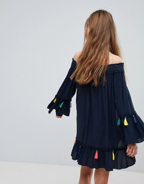 photo Navy Tassel Beach Cover Up Dress by Surf Gypsy, color Navy - Image 2