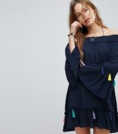 photo Navy Tassel Beach Cover Up Dress by Surf Gypsy, color Navy - Image 1