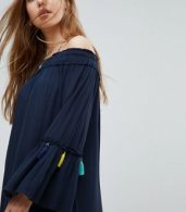 photo Navy Tassel Beach Cover Up Dress by Surf Gypsy, color Navy - Image 3