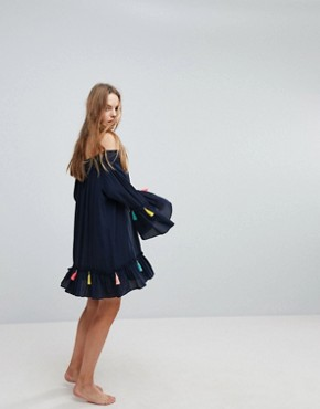 photo Navy Tassel Beach Cover Up Dress by Surf Gypsy, color Navy - Image 4