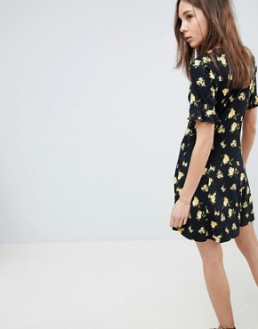 photo Button Through Tea Dress with Frill Sleeve in Marigold Print by ASOS DESIGN, color Floral Print - Image 2
