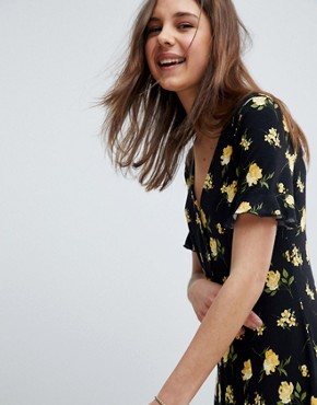 photo Button Through Tea Dress with Frill Sleeve in Marigold Print by ASOS DESIGN, color Floral Print - Image 1