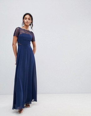 photo Lace Insert Panelled Maxi Dress by ASOS, color Navy - Image 2
